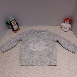 Slub knit lace swan sweater